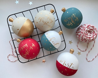 Personalized Christmas Ornaments - Hollow Wooden Ball - Festive Keepsake Baubles - Christmas tree decor - Christmas gift for mom - Wish box
