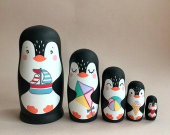 Penguins Nesting Russian Dolls - Animals Matroschka - Russian Souvenir - Penguin Toys - Matryoshka Dolls