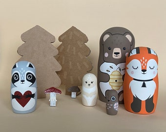 Animal Nesting dolls - Honey Baby Shower - Forest Nursery Decor - Wooden Zoo Hand Painted - Gift For Boy - Papa Bear Gift - Russian Dolls