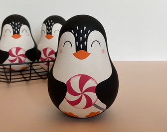 Roly poly penguin with a lollipop  - Musical toy - Personalized wooden toy - 1st Christmas gift - Russian nesting dolls