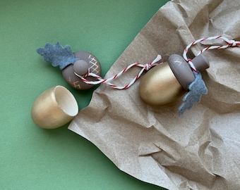 Wooden Acorn Ornaments - Tree decoration - Christmas decor - Thank you gift - Advent calendar gift - Keepsake gift