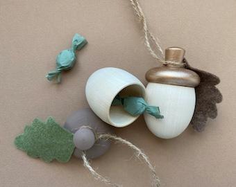Acorn ornaments, Christmas tree ornaments, Wooden acorn, Hygge style Christmas, Rustic Christmas, Keepsake jewellery box, Keepsake gift