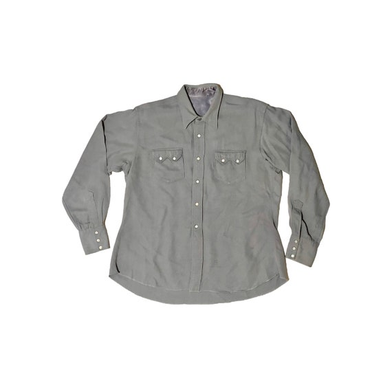 1940's Gabardine Sawtooth Western Shirt Large Gray