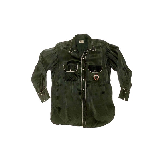 1950's Cowboy Shirt Satin Western Shirt Large Blac