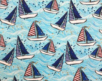 6fb2a1826a0 Cotton/Lycra Nautical Print Fabric ~ Euro Knits ~ CL ~ by the half meter ~  European Fabric ~ Boats fabric ~ Sailboats
