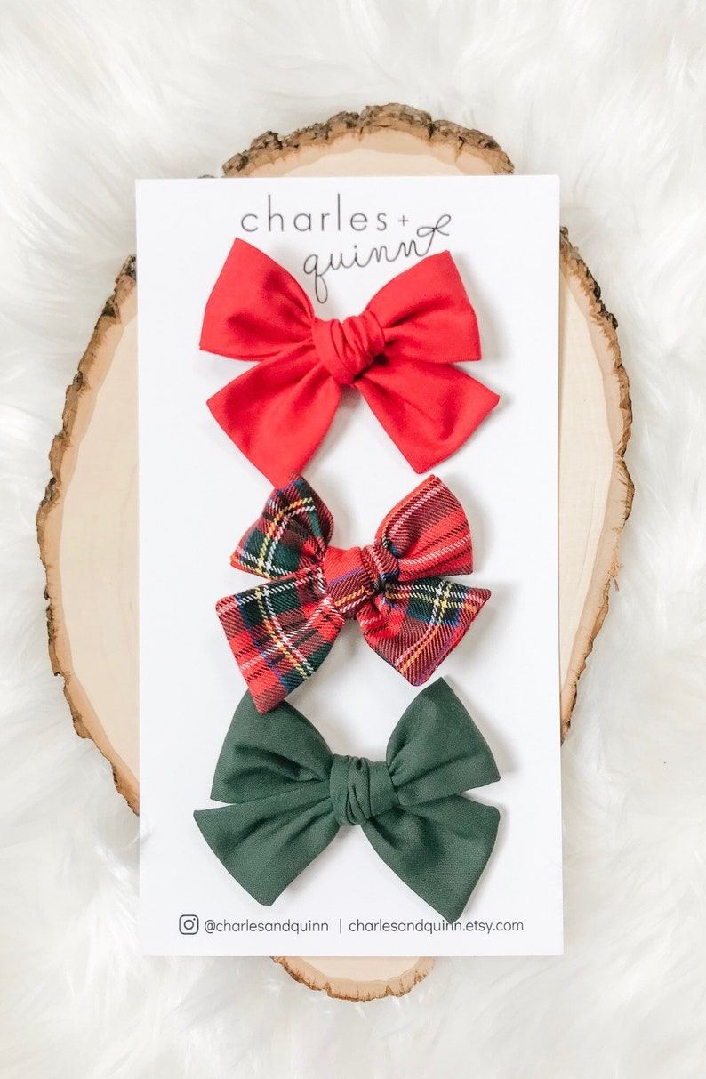 Grande Holiday Collection 3 Bow Set Three Handmade and Hand Tied Bows on Extra Soft Nylon Headbands or Clips