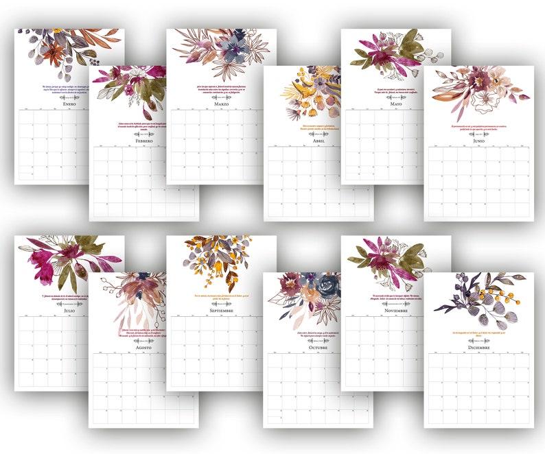 Wall calendar Printable bible calendar 2021 Spanish | Etsy