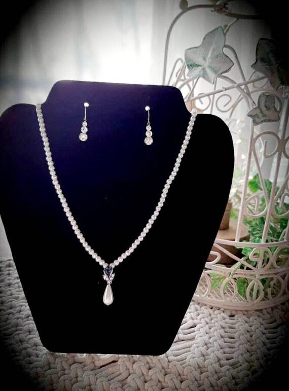 Blue Sapphire Pearl Teardrop and Earring Set/ Brid