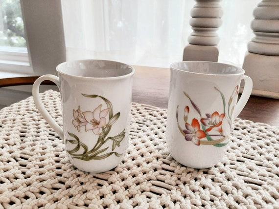 Organic Floral Lily Design Mugs Korea 8oz Coffee Tea Cup Set Etsy