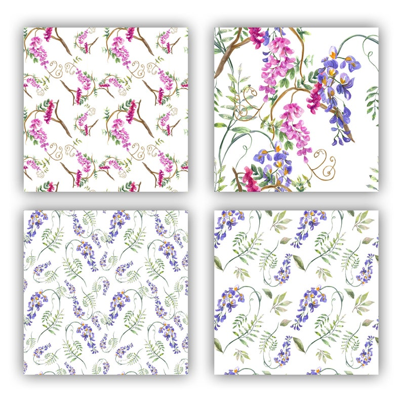 Digital Paper Watercolor Seamless Wisteria Patterns Blooming Patterns