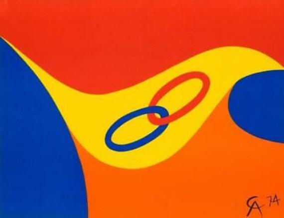 "ALEXANDER CALDER /""BEASTIE/"" 1974 Original Lithograph Braniff Airlines Art"