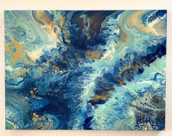 """18"""" x 24"""", Acrylic pour painting, Fluid Art, original painting, abstract painting"""
