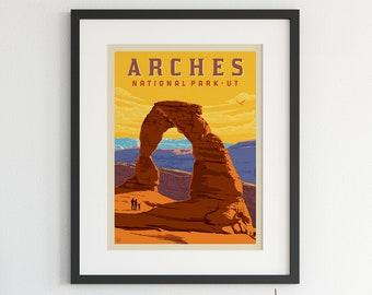 Arches National Park Utah Vintage Artwork Wood Cutout