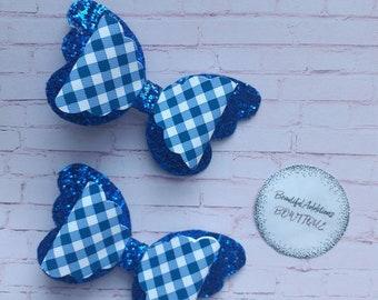 Handmade Girls Light Blue Gingham School  Bow Hair Bobbles Sold In Pairs