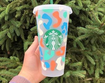 Leopard Starbucks Cup / Leopard Print Cup / Cheetah Print Starbucks Cup / Colorful Starbucks Cup / Summer Starbucks Tumbler / Custom Tumbler