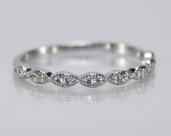 Half Eternity 2 mm Sterling Silver Ring, Silver Thumb Ring, Diamond CZ Wedding Band, Engagement Anniversary, Stackable Band