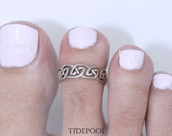 Sterling silver 925 Celtic knot toe ring adjustable toe ring Also knuckle ring T32