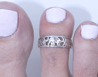 Sterling Silver Toe Ring Jewelry Gifts Midi Ring Body Jewelry Adjustable Ring Pinky Ring Gifts For Her Elephant Toe Ring F31