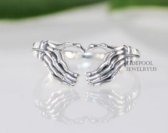 Sterling Silver Skeleton Heart Ring , Skeleton hand, heart ring, love ring, men ring, women ring