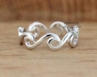Sterling Silver eternity wave ring, thumb wave ring, Beach jewelry, Ocean wave Ring, Hawaii jewelry, Gift for Her, Friendship ring