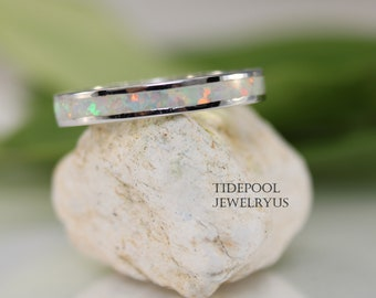 Eternity White Opal Band Sterling Silver Ring, White Fire Opal Thumb Ring, Opal Wedding Band, Anniversary Ring, Gift for Her, mother