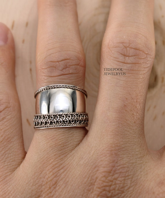 Wide Silver Weave Bali Ring  925 Sterling Silver  Silver Weave Ring  Wide Band Silver Weave Ring