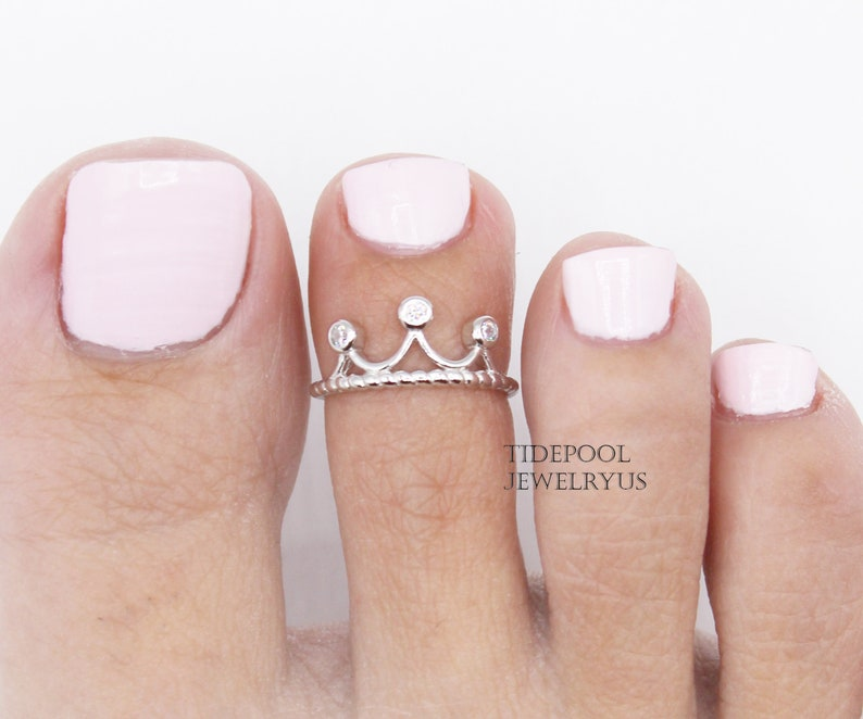 Adjustable Sterling Silver Crown Toe Ring Open toe ring image 0