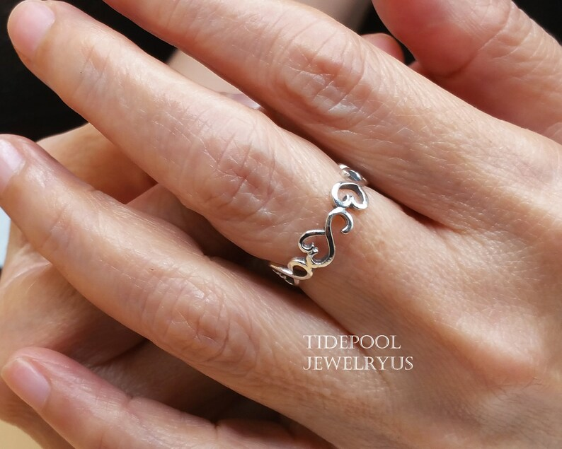 Promise Ring Dainty band Ring Twisted Ring Infinity For Her Infinity heart band Ring Friendship Ring Sterling Silver 925 thumb Ring