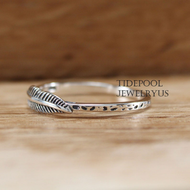 midi dainty stackable ring Sterling silver dainty feather ring pinky leaf ring friendship ring nature ring