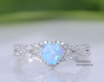 Sterling Silver Blue Opal Heart Ring, Opal Braid Ring, Gift for her, Promise ring, anniversary ring