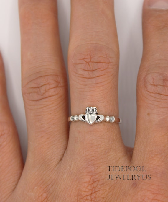 Classic Irish Celtic Claddagh Sterling Silver Band Ring With Cut-Out Heart Irish Jewellery Sizes J-R Available