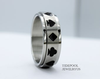 Spinner Card Play Poker Clubs Diamonds Hearts Spades Surgical Grade 316L Stainless Steel Band 8mm Ring Men Women Engagement Anniversary Gift