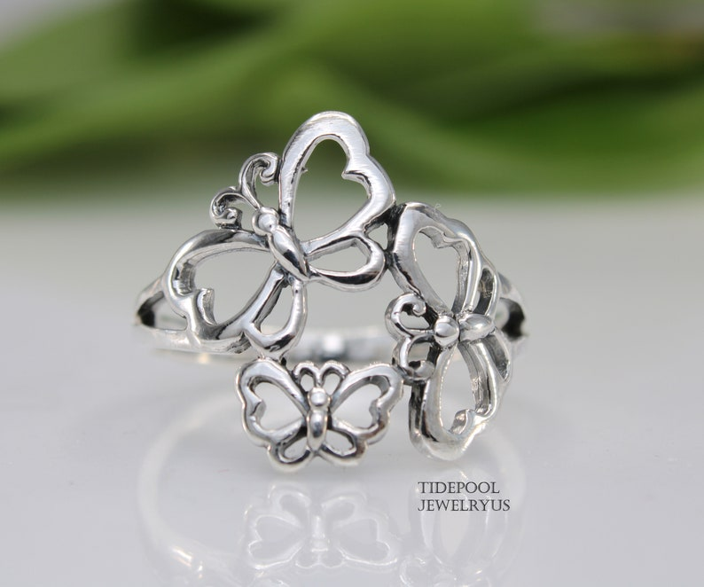 Sterling Silver Butterfly Ring statement ring Family butterfly Ring