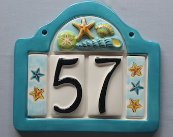 Seashells Address Plaque with 2 Numbers - Custom painted ceramic address plaque with your choice of frame color and color scheme