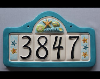 Seashells Address Plaque with 4 Numbers - Custom painted ceramic address plaque with your choice of frame color and color scheme