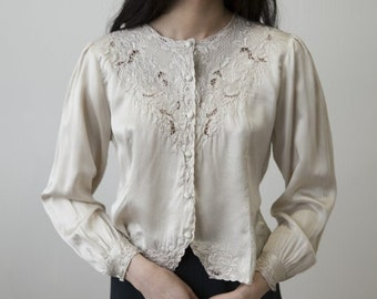 4557ff39aa Ivory Silk Blouse with Embroidery S