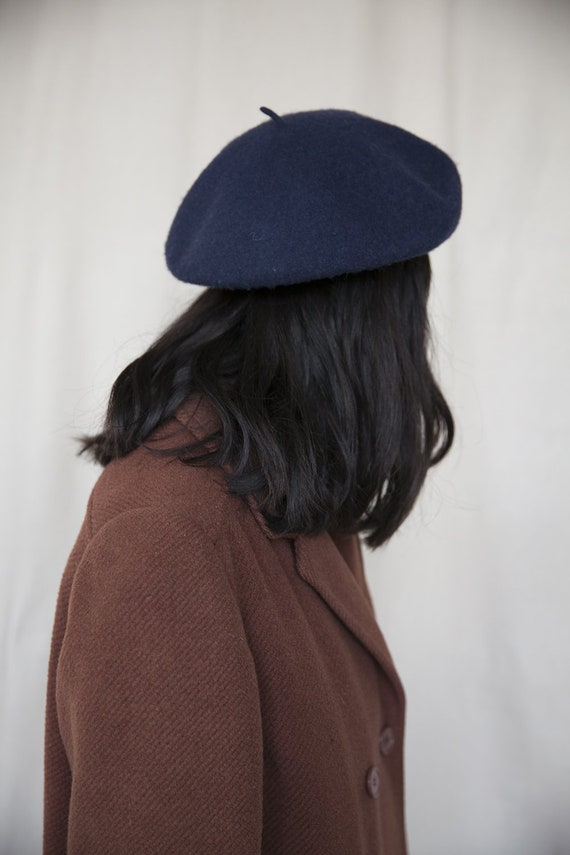 Navy Blue Classic French Wool Beret