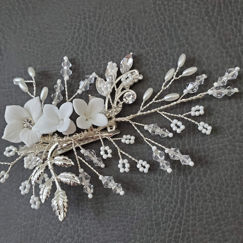 Floral Pin Headpiece Clip Pearl Flower girl Hairpieces Hair clip Accessory unique elegant Bride Bridal Wedding Gift