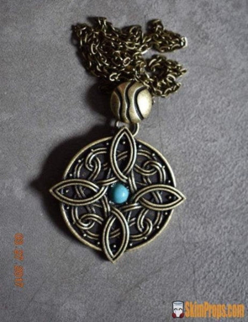 Amulet of Mara Necklace Turquoise Stone Bronze Wedding Engagement Jewelry  Skyrim Cosplay Chain Soul Gem Mara Marriage Necklaces Best Friends