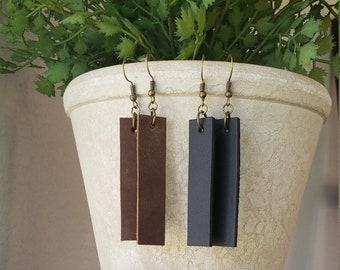 Leather Dangle Earrings Leather Earrings HGTV Leather Bar Inspired Earrings Leather Bar Earrings