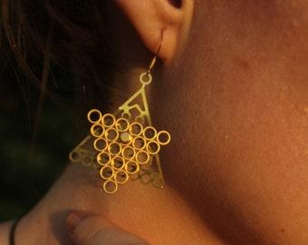 Inverted Pyramid - spinner earrings