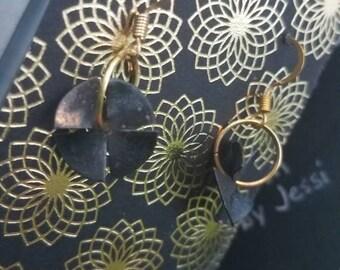 Smallest Fan - oxidized spinning fan earrings - Original Playthings Studio design