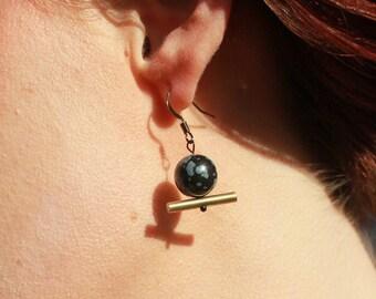 Obsidian Propeller - Fidget earrings by Jessi Stead