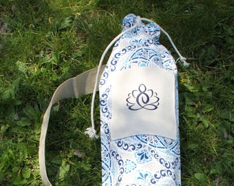 Sling-Style Yoga Mat Bag with Drawstring Close and Embroidered Front Pocket with Blue & White Mandala Print