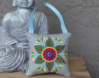 Embroidered Mandala Small Pillow Ornament or Rearview-Mirror Hanger