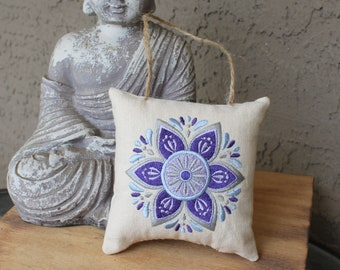 Embroidered Mandala Small Pillow Ornament or Rearview-Mirror Hanger in Purple/Blue