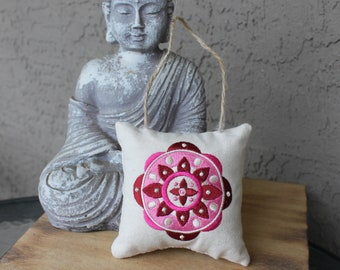 Embroidered Mandala Small Pillow Ornament or Rearview-Mirror Hanger in Maroon/Pink