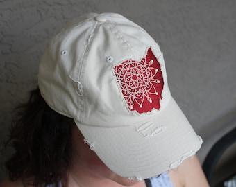 Embroidered Ohio Mandala Distressed Baseball Cap -- Multiple Colors Available