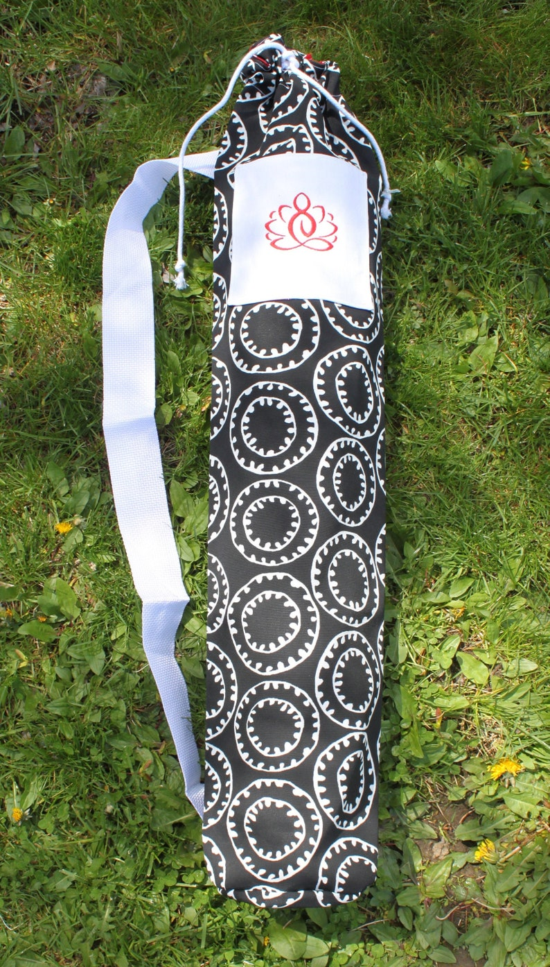 Sling-Style Yoga Mat Bag with Drawstring Close and Embroidered image 0