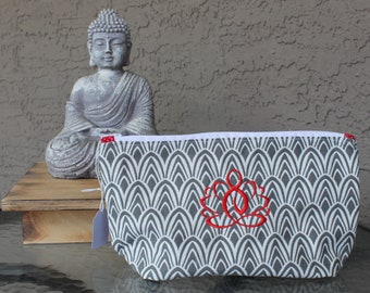 Gray White Geometric Print Zippered Pouch with Red Embroidered Lotus
